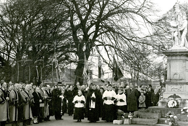 Mayor Gerard McQuade at a Rememberance Service at the Scunthorpe War Memorial, located outside North Lincolnshire Museum on Oswald Road, c.1957-1958.