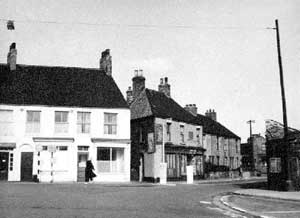 Northern end of Market Hill, Scunthorpe, in 1960, before the building of Crosby Flats.