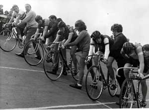 Junior cycle race at Quibell Park velodrome, Scunthorpe, c.1970's