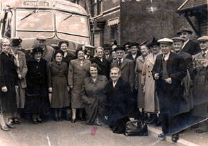 Old Age Pensioners' trip to Cleethorpes from the Sunshine Hall in Ashby, Scunthorpe, in the mid 1950's