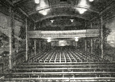 Interior of the Jubilee Cinema, Laneham Street, Scunthorpe, in 1933, looking at the balcony from the stage.